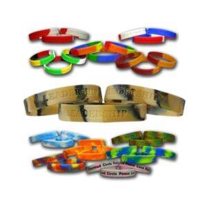 art. 505 Bracciale in silicone gadget promozionale mix-color personalizzabile con stampa o incisione del logo